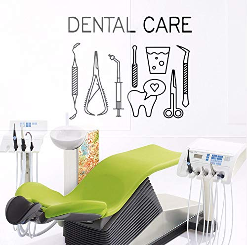 Dalxsh Removable Dental Wall Sticker Dental Care Logo Wall Decal Dentist Smile Tools Wall Window Poster Teeth Center Decoration 42x35cm]()