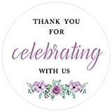 "MAGJUCHE 2"" White Floral Thank You for Celebrating with us Label Stickers, 80 Thank You Sticker Labels"
