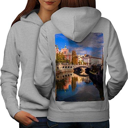 wellcoda Canal Street River City Women Grey L Hoodie - Canal 365 Street