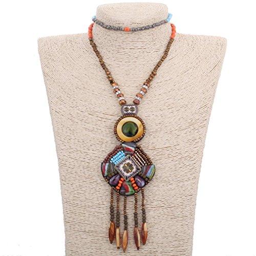 Yazilind creativo de la vendimia largo de Boho de los granos de Bohemia Declaración de moda collar de la borla de las mujeres de la joyería Accesorios