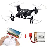 Drone Camera 2.4GHz 4CH 6-axis 640P Camera Live Video LED Nano Pocket 360-degree Rotation RC Quadcopter With Gyro App Control WIFI FPV Mini Drone Syma X21W(Black)