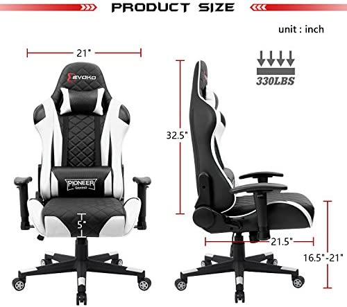 Devoko Racing Style Gaming Chair Height Adjustable Swivel PC Computer Chair with Headrest and Lumbar Support Leather Reclining Executive Office Chair (White) 51bp9e5C0fL