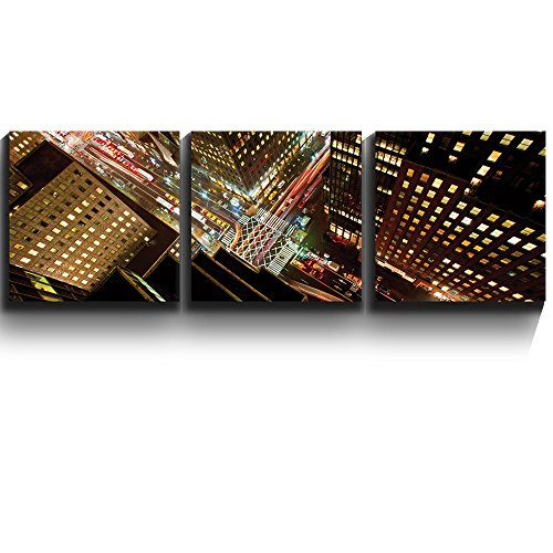 3 Square Panels Contemporary Art Eagle Eye view of 42nd street in New York City Three Gallery ped Printed Piece x3 Panels