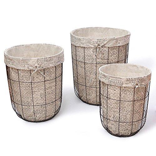 3 Piece Multi-Purpose Laundry Tall Circular Basket Set by Adeco