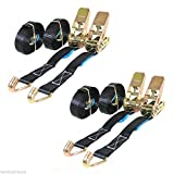 4 x 25mm 5 Meter Black 800kg Ratchets Tie Down Straps Lorry Lashing Trail