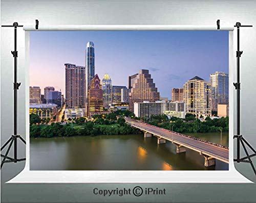 (Modern Photography Backdrops Austin Texas American City Bridge Over The Lake Skyscrapers USA Downtown Picture,Birthday Party Background Customized Microfiber Photo Studio Props,10x6.5ft,Multicolor)
