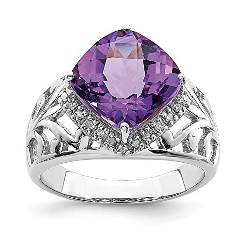 Bow Cut Cushion Diamond Ring (Amethyst and .12 Ctw (H-I, I2-I3) Diamond Ring in Sterling Silver Size 7)