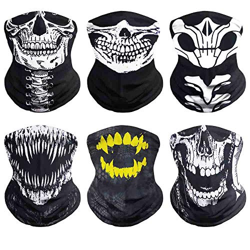 VCZUIUC Seamless Headwear, Magic Face Mask, Neck Gaiter, Skeleton Bandana for Motorcycle, Fishing, Head Wrap, Scarf, Balaclava, Multi Functional Use for Men and Women (6PCS-Skull-C)