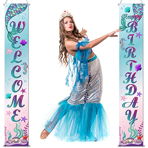 Mermaid Happy Birthday Banner Mermaid's Day Porch Sign Welcome Banner Sea Theme Hanging Decoration for Indoor Outdoor Mermaid Decoration Party ()
