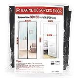 Gray Magnetic Screen Door, 30 x 80 Inch Door Screen,Good Light Transmission,Durable Fiberglass Screen Mesh Fit Doors Size up to 28 W x 79 H Inch