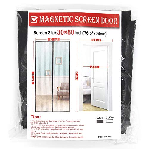Gray Magnetic Screen Door, 30 x 80 Inch Door Screen,Good Light Transmission,Durable Fiberglass Screen Mesh Fit Doors Size up to 28 W x 79 H ()
