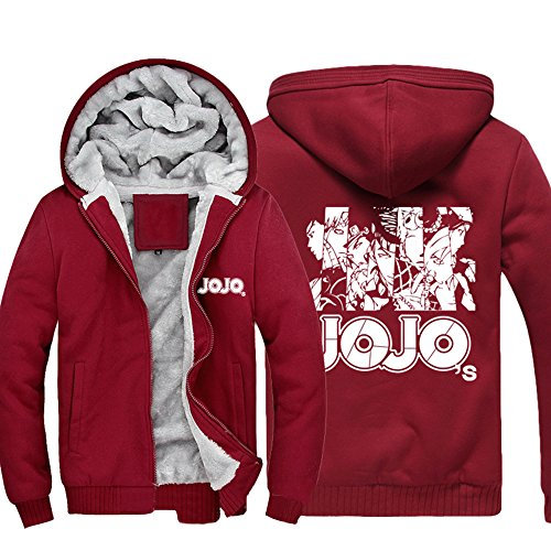 Hooded Vêtements Cosplay Zip Jojo shirt Capuche Sweat Sweat Épais Costume Veste Up Red Hiver Toison Anime À Homme Manteau wwqvxTFCp