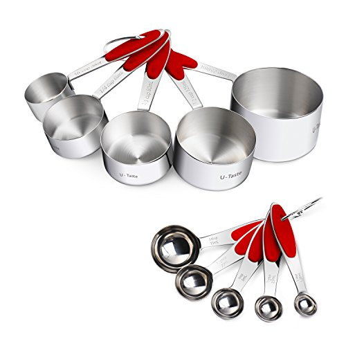 Measuring Cups : U-Taste 18/8 Stainless Steel Measuring Cups and Spoons Set of 10 Piece, Upgraded Thickness Handle(Red)