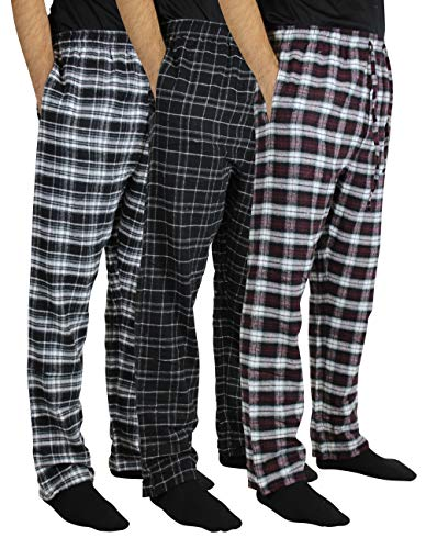 New 3 Pack:Men's Cotton Super Soft Lightweight Flannel Buffalo Plaid PJS Pajama Pyjamas Pants/Lounge PJS Bottoms Sleepwear,ST 2-M ()