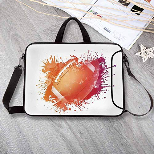 (Sports Lightweight Neoprene Laptop Bag,Rugby Ball in Digital Watercolors Splash Recreational Leisure Sports Run Design Laptop Bag for Laptop Tablet PC,8.7