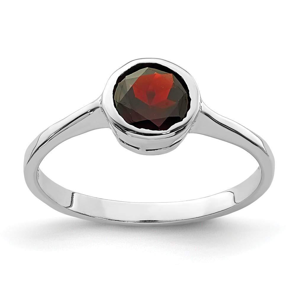 Sterling Silver 1 MM Garnet Ring