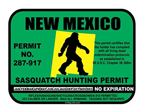 JS Artworks New Mexico Sasquatch Hunting Permit License Bigfoot Vinyl Sticker Decal