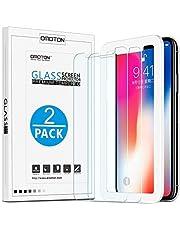 [2 Stück] OMOTON Panzerglas Schutzfolie für iPhone XS / iPhone X, iPhone XS / iPhone x Displayschutzfolie mit Positionierhilfe, 9H Härte, Anti-Kratzen, Anti-Öl, Anti-Bläschen, [5.8 zoll]