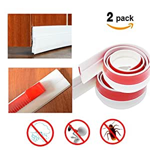 Door Draft Stopper 2 Pack U2013 Weather Stripping Seal Sound Proof And Block  Cold Hot Air