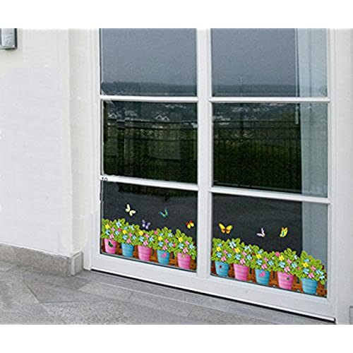 Window decals for glass doors amazon dnven 52w x 14h flowers grass plants with butterflies baseboard border wall decals sliding doors mirrors doors windows glass stickers windows decals planetlyrics Gallery