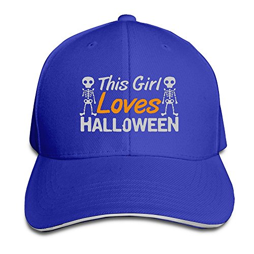 Runy Custom This Girl Loves Halloween Adjustable Sanwich Hunting Peak Hat & Cap RoyalBlue