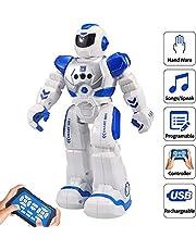 HUSAN Kids Remote Control Robot, Robot de Danse Chanter Intelligent contrôleur Infrarouge Jouets, Yeux programmables,Moonwalking et LED,détection Geste,Le Divertissement Enfants (Bleu)