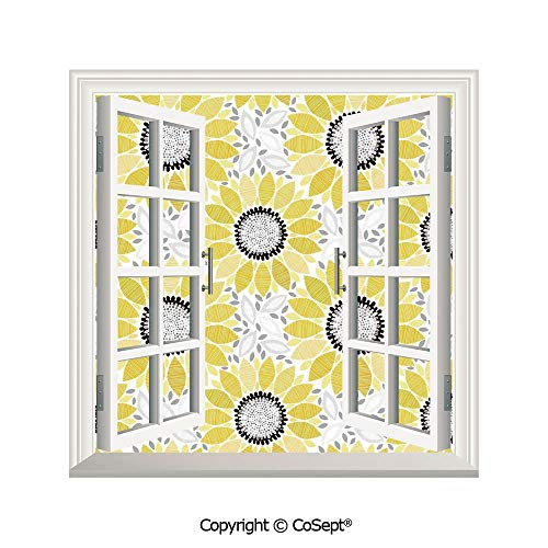 SCOXIXI Open Window Wall Mural,Sunflower with Leaves and Petals Pattern Spring Summer Floral Nature Country Style Art,for Living Room(26.65x20 inch)