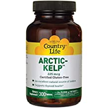 Country Life Arctic Kelp, Supports Thyroid Health, 225 mcg,300 Tablets