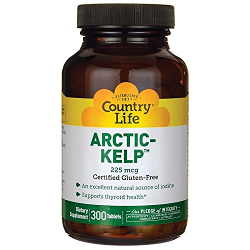 Organic Sea Kelp - Country Life Arctic Kelp, Supports Thyroid Health, 225 mcg,300 Tablets