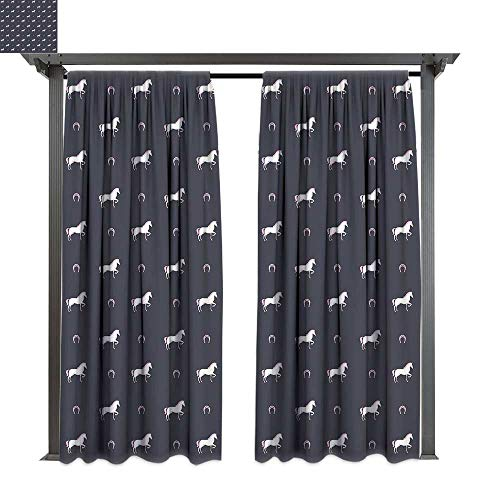 - leinuoyi Horses, Patio Curtains, Animal Pattern Sublime Mustang Silhouette Wildlife Horseshoe Abstract, Outdoor Curtain for Patio (W84 x L108 Inches Purple Grey White Pink