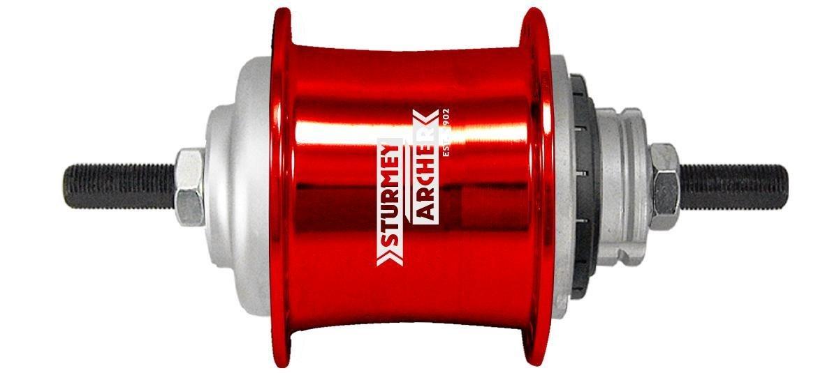 Sturmey-Archer(スターメーアーチャー) S2 キックシフト2段変速ハブ 32H 取付用パーツ付属 22Tスプロケット付属 レッド B00P8UOPJO