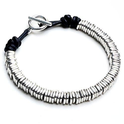 Kham Men Genuine Black Leather and 925 Sterling Silver Square Hoop Stack Beaded Bracelet (8.5)