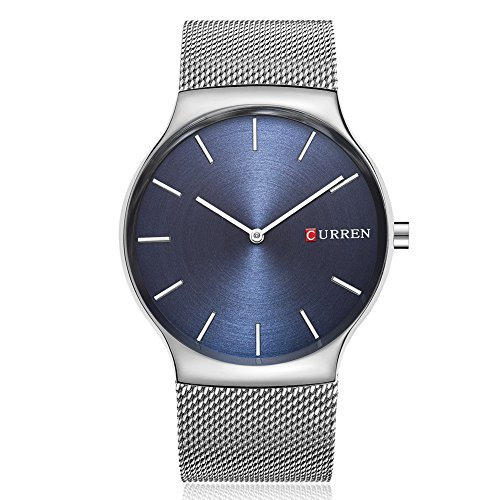 Men Quartz Watches, CURREN Analog Wristwatch with Stainless Steel Mesh Band Ultra Thin Dial Luxury Business and Leisure Dual-use Watch for Men 8256 (Silver Blue) ()