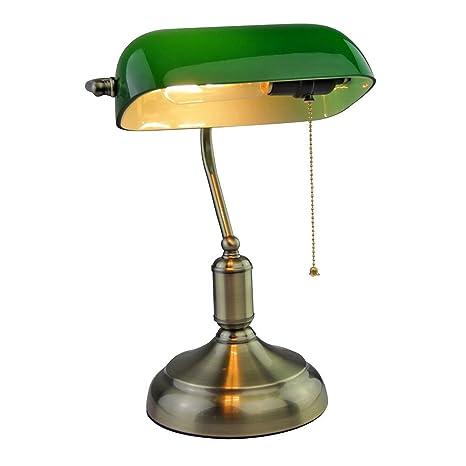 V-TAC - Lámpara de mesa vintage VT-7151 SKU 3912 de latón antiguo y vidrio tintado con casquillo E27, color verde