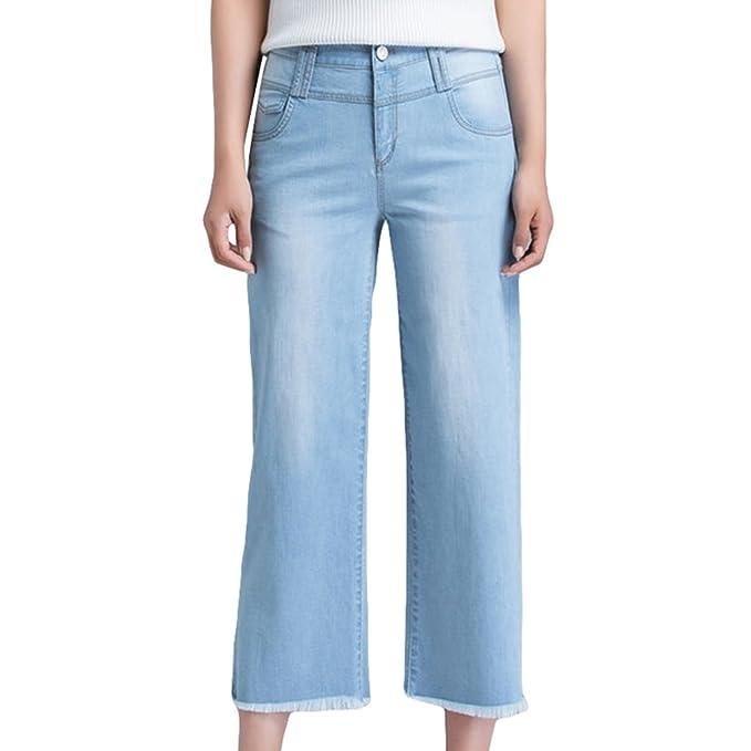 Xinwcanga Mujer Pantalones Rectos Flojos Mezclilla ...