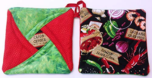 Handmade Reversible Quilted Potholders | Heat Resistant | Shrimp Bisque Design | Set includes 2 potholders by Oh So Chic Boutique