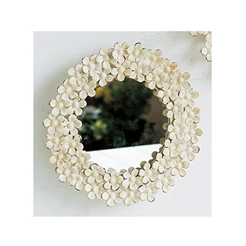 - Time Concept Shabby Iron Floral Round Wall Mount Mirror - Small - Off White Frame Finish, Bathroom Vanity Décor