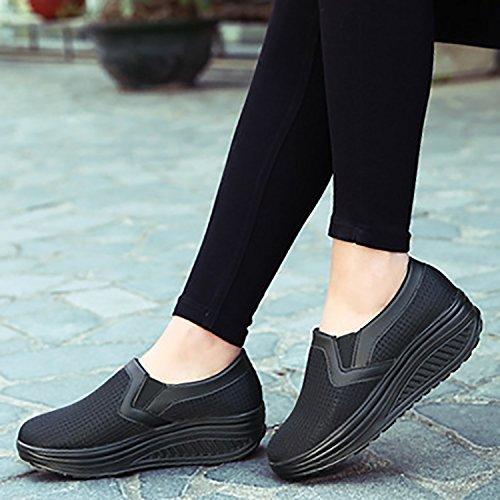 Odema Womens Mesh Plattform Sneakers Halka På Shape Up Kil Sneakers Komfort Promenadskor Size6-10 Svart