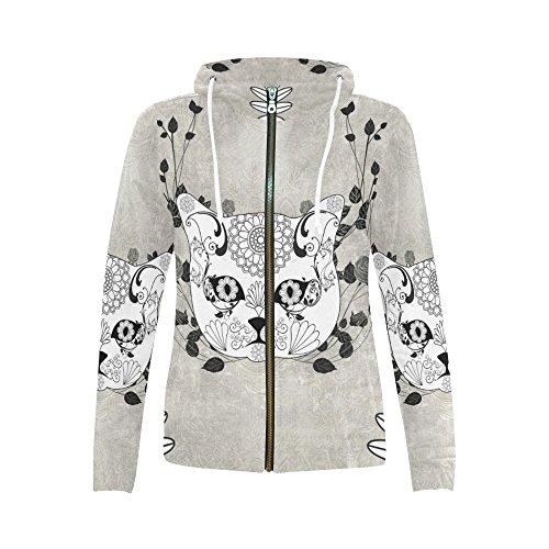 InterestPrint sugar cat skull Print Full Zip Hoodie Sweatshirt for Women Sugar Cat Skull X-Large