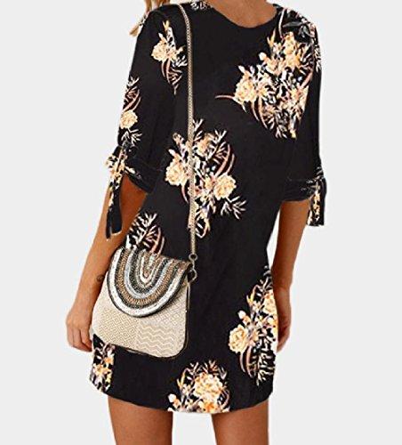 Crew Strappy Fashion Mid Size Plus Flower Neck Print Pattern1 Women Coolred Dress wqHFY0aW