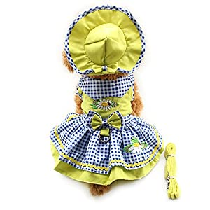 4pcs Cute Dog Pet Cat Luxury princess Tutu Bow Dress Skirt Set Small Dog Clothes Shirt Costume( Dog Dress+Dog Hat+Dog Panties+Dog Leash ) (M, Yellow)