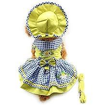 4pcs Cute Dog Pet Cat Luxury princess Tutu Bow Dress Skirt Set Small Dog Clothes Shirt Costume( Dog Dress+Dog Hat+Dog Panties+Dog Leash ) (XS, Yellow)