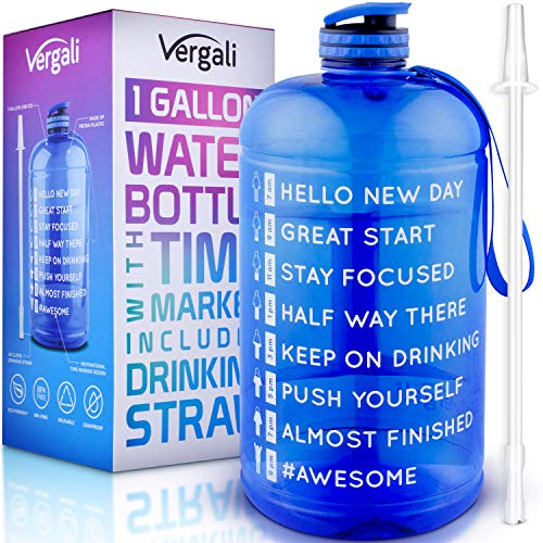 Vergali 1 Gallon Water Bottle with Time Marker and Straw. Large Motivational Sports Water Jug to Increase Your Daily Water Intake. Made of BPA Free, Leakproof, Crack Proof, Tritan Plastic
