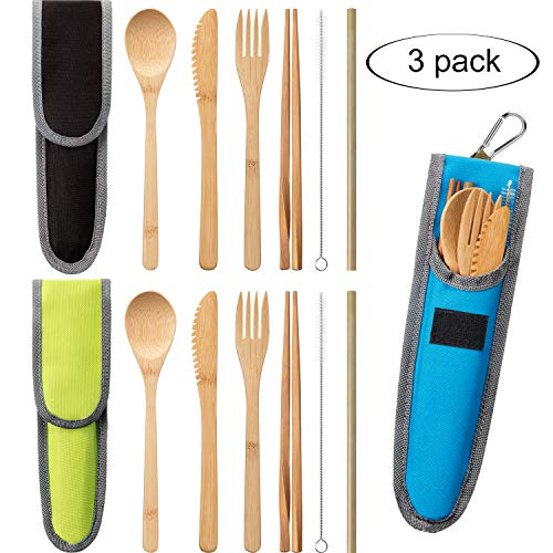 3 Sets Bamboo Travel Utensils Set Bamboo Cutlery Flatware Set Portable Utensils with Carrying Case Include Bamboo Fork, Knife, Spoon, Chopsticks, Straw and Cleaning Brush (Black, Blue, Green) ()