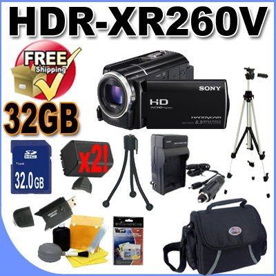 Sony HDRXR260V High-Definition Handycam 8.9 MP Camcorder with 30x Optical Zoom and 160 GB Hard Disk Memory Accessory Saver 32GB FV70 (X2) Replacement Battery/Rapid Charger Bundle