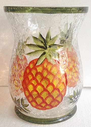 Yankee Candle Large PINEAPPLE Pillar or Tumbler Crackle Jar Candle Holder
