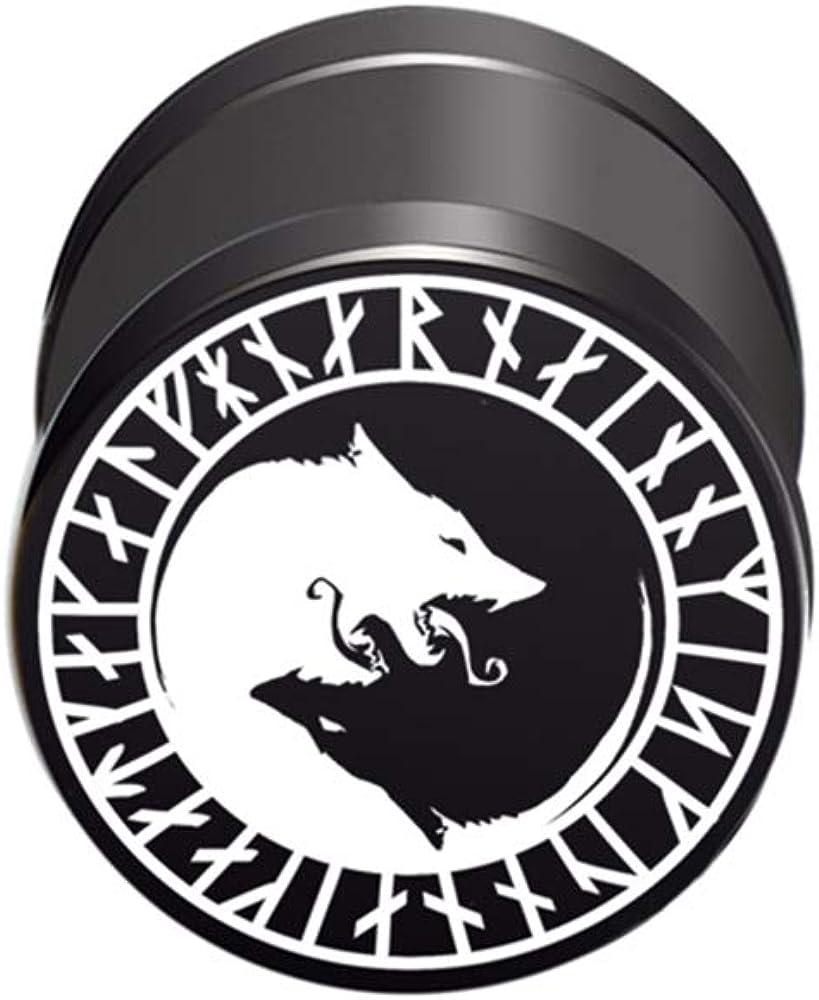 316L Stainless Steel Fake Plug Piercing Yin /& Yang Tao Symbol Black White Men/'s
