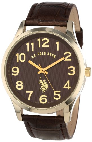 U.S. Polo Assn. Classic Men's USC50187  Brown Croco Genuine Leather Band Analog - Leather Croco Band Brown
