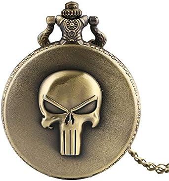 Hombres Mujeres Niños Niños Niños Pálido Collares Cráneo Malvado Cabeza De Cuarzo Bolsillo Reloj De Moda Fresco Colgante con Cadena
