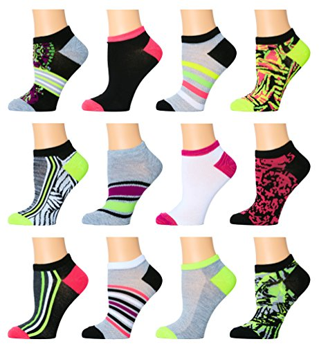 AirStep Women's No Show Athletic Socks - 12 Pack, Multicolored, Sock Size: 9-11 Fits Shoe: 4-10